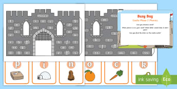 Castle Phase 2 Phonics Busy Bag Prompt Card and Resource Pack - Grapheme, Satpin, Phoneme, Reading, Knights, Medieval