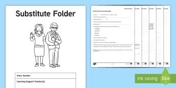 Substitute Folder Editable Resource Pack - sub folder, absent, class information, sheets, routine,Irish