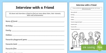Interview a Friend Worksheet / Activity Sheet - Skills, HWB 1-19a, Achievements, Friendship, Health and Wellbeing ,Scottish, worksheet