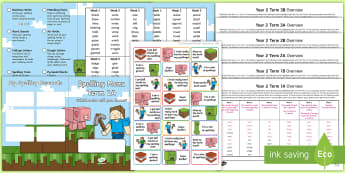 Year 2 Block Adventurer Spelling Menu Pack - spag, gps, home learning, weekly, lists, test,