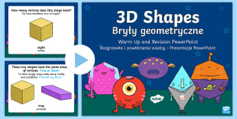 3D Shapes Warm-Up and Revision PowerPoint English/Polish - Mental Maths, Warm up, Revision, Powerpoint, 3d shapes, cube, cuboid, sphere, pyramid, prism, cone,
