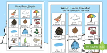 Winter Hunt Checklist - English / Spanish - Winter Hunt Checklist - winter, hunt, winter hunt, checklist, can you see, sensory walk, winter sens