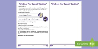 What Are Your Special Qualities? Activity Sheet - Peer pressure, friendships, young people, feelings, behaviour, emotions, worksheet