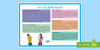 Are You ADHD Aware? Adult Guidance A4 Display Poster  - SEND, SEN, ADHD, Learning Support, Inclusion, Noticeboard, SENCo resources