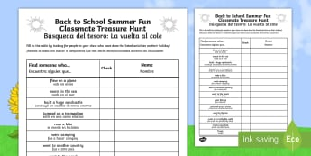 Back to School Summer Fun Classmate Scavenger Hunt Activity English/Spanish - Back to School Summer Fun Classmate Scavenger Hunt - scavenger, summertime, Timw, EAL, Spanish, ,Spa