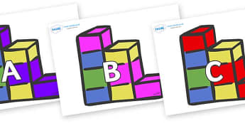 A-Z Alphabet on Building Blocks - A-Z, A4, display, Alphabet frieze, Display letters, Letter posters, A-Z letters, Alphabet flashcards
