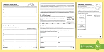 The Creation of the World by God Worksheet / Activity Sheets - Design argument, evaluation, cosmological argument, first cause theory, God, The creator, omnipotent