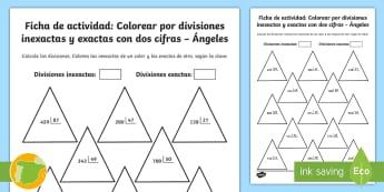 Ficha de actividad: Colorear por divisiones inexactas y exactas con dos cifras - Navidad, dividir, división, repartir, cifras, escrito, escrita, método, Spanish