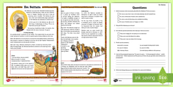 KS2 Ibn Battuta Differentiated Reading Comprehension Activity - KS2, reading comprehension, Muslim, Islam, Ibn Battuta, early Islamic civilisation, world wide Islam
