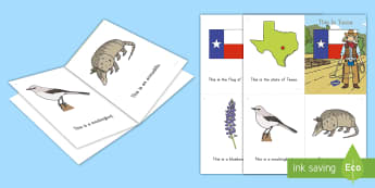 Texas State Symbols Emergent Reader - texas independence day,  pre-reading skills, sight words, texas vocabulary