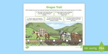 Oregon Trail Timeline Activity Sheet - Oregon Trail History, Grade 4 Social Studies, Grade 4 History, Timeline, Settlement of the American