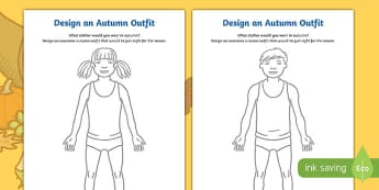 Autumn Clothes Outfit Drawing Worksheet / Activity Sheet Pack, worksheet