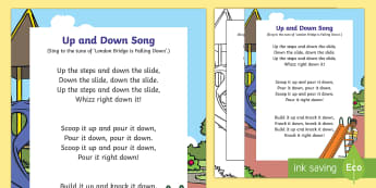 Up and Down Song - up, down, slide, steps, scoop, pour, build, knock down