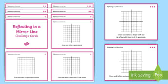 Reflecting in a Mirror Line Differentiated Challenge Cards - reflection, y-axis, x-axis, shape reflection, year 5, y5, year 6, y6