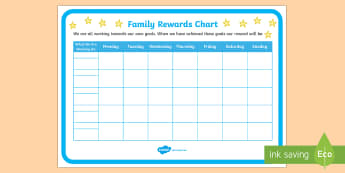 Family Rewards Chart Display Poster - Young People & Families Case File Recording, referral, chronology, contents page,buddy system, safeg