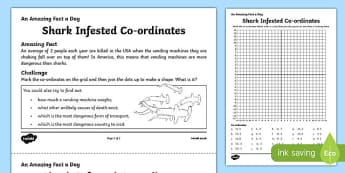 Shark Infested Co-ordinates Activity Sheet, worksheet