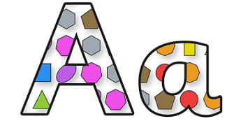 2D Shapes Display Lettering - 2d shapes, 2d shapes lettering, shapes, shapes display, shape themed display lettering, shape themed alphabet, shapes a-z