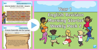 Year 1 English Revision Morning Starter Weekly PowerPoint Pack 2 - Y1, morning task, opener, starter, Spelling, Grammar, Reading, Writing, SPaG, revise, revision, skil
