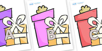 A-Z Alphabet on Presents - Gifts - A-Z, A4, display, Alphabet frieze, Display letters, Letter posters, A-Z letters, Alphabet flashcards