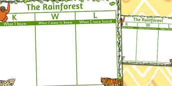 The Rainforest Topic KWL Grid - rainforest, kwl grid, know, learn