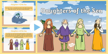 Daughters of The Sea PowerPoint - Cardigan, De Cymru, South Wales, gwylanod, seagulls, father, tad, Dylan, Sea God, Duw y Mor, storm,