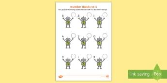 Number Bonds to 5 on Robots Worksheet / Activity Sheet - number bonds, 5, number bonds to 5, number, bonds, robots, worksheet / activity sheet, activity