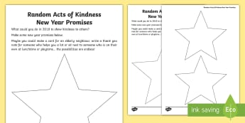 KS1 Random Acts of Kindness New Year Promises Writing Worksheet / Activity Sheet - fruits of the spirit, thinking of others, writing, worksheet