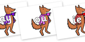 Phase 5 Phonemes on Small Fox 4 to Support Teaching on Fantastic Mr Fox - Phonemes, phoneme, Phase 5, Phase five, Foundation, Literacy, Letters and Sounds, DfES, display