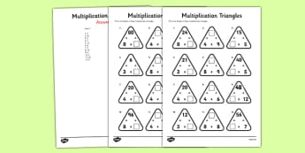 Year 3 Multiplication Triangles Activity Sheet 3, 4 and 8 Times Tables - multiplication triangles, times table, times tables, worksheet