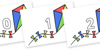 Numbers 0-31 on Kites - 0-31, foundation stage numeracy, Number recognition, Number flashcards, counting, number frieze, Display numbers, number posters