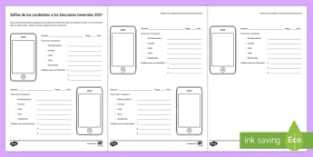 UK General Election Candidates Selfies Activity Sheet Spanish - UK, general, elections, candidates, selfies, activity, sheet, worksheet, personal, information, poli