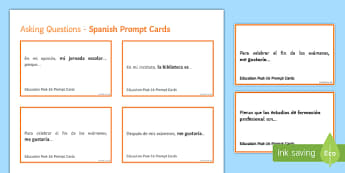 General Conversation Education Post 16 Question Prompt Cards Spanish