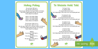 The Hokey Pokey Song English/Te Reo Māori - New Zealand, Back to School, song, new term, new school, new year, new class, ice-breaker, rhyme, si