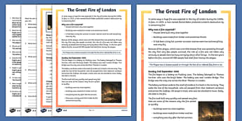 The Great Fire of London Differentiated Reading Comprehension Activity