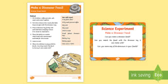 EYFS Make a Dinosaur Fossil Science Experiment and Prompt Card Pack - Dinosaurs, fossils, paleontologist, palentologist