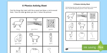 g Phonics Worksheet / Activity Sheet-Irish, worksheet