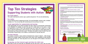 Top Ten Strategies for Supporting Children with Autism Parent and Carer Information Sheet - World Autism Awareness Day, WAAW, autism, ASD, ASC
