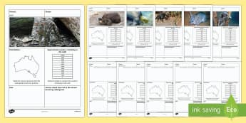 Endangered Australian Animals Activity - Australian Animals, reptiles, cloze passages, activity sheets, word search, research, fast finisher,