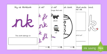 My 'nk' Letter Blend Workbook (Cursive) - workbook, nk, letters, blend, alphabet, activity, handwriting, blends, letter, letter blends, ng and nk worksheets