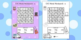 CVC Wordsearch a - CVC words, word search, word games