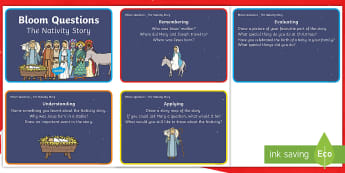 The Nativity Christmas Story Bloom's Taxonomy Challenge Card - high Order Thinking, Reading Comprehension, HOTS, Finding and Using information, Guided Reading,Scot