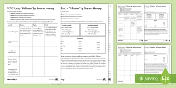 'Follower' By Seamus Heaney Structured Analysis Differentiated Activity Pack - Seamus, Heaney, Follower, KS4, poetry