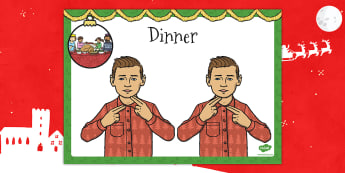 A4 British Sign Language Sign for Dinner Left Handed - dinner
