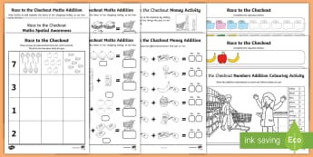 Race to the Checkout Maths Activity Pack - ROI Exploring My World - Race to the Checkout - The Supermarket, Irish
