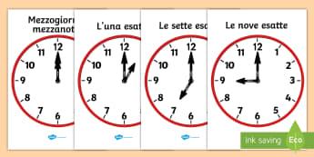 Orologio analogico ore esatte Poster - tempo, leggere, l, ora, orologio, analogico, ora, esatta, italiano, italian, materiale, scolastico