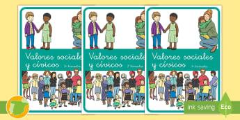 Separadores de álbumes: Valores sociales y cívicos - álbum, fin de curso, dividir, tapa de álbumes, tapas, asignaturas, trimestre