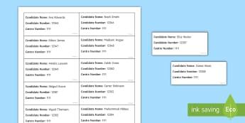 Exam Seating Editable Label Generator English - Exam, Invigilation, Invigilators, Seating plan, labels