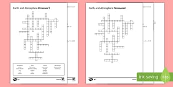 KS3 Earth and Atmosphere Crossword