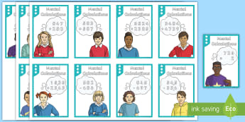 Mental Calculation Matching Cards - Addition, Subtraction, Multiplication and Division, three digit division, one digit x three digit, m