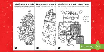 Christmas Themed Mindfulness Times Table Activity Sheets - Plants and Growth Themed Mindfulness 2, 5 and 10 Times Tables Colour By Numbers - plants and growth,